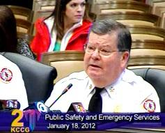 Fire Chief Smoky Dyer in first public reaction to proposed $7.5  million  in cuts to Kansas City, Mo. Fire Department.
