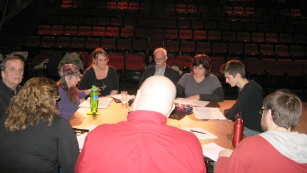 "A table reading for ""Bully Bot the Robot and the Gang of Geeks."""