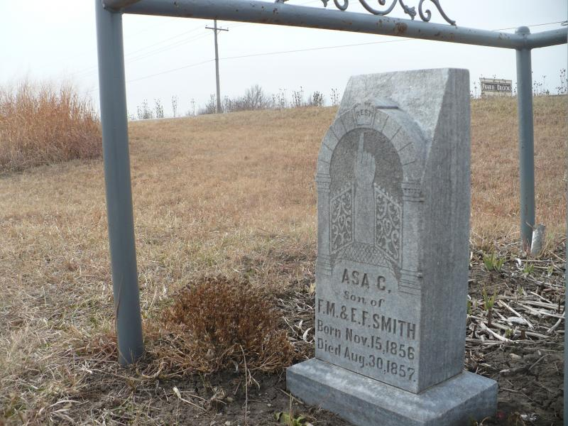 Asa Smith was buried on family property. He was eight months old when he died.