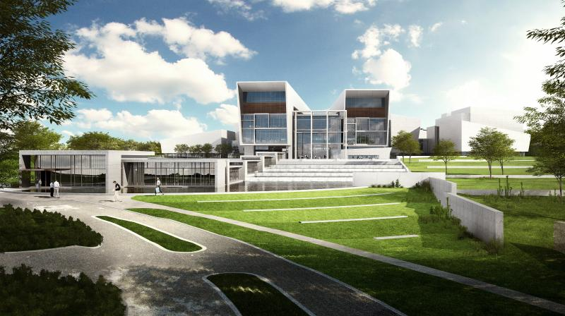 Architectural rendering of NBAF building. President Obama has decided not to fund construction of the huge animal disease lab in Kansas next year.