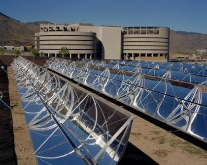 This solar thermal system heats domestic water at the Jefferson County Jail by a glycol ethylene system which circulates through the parabolic trough collectors into a coil system in the 4000 gallon tank.