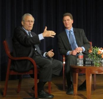 Former Defense Secretary Donald Rumsfeld and KCUR's Steve Kraske