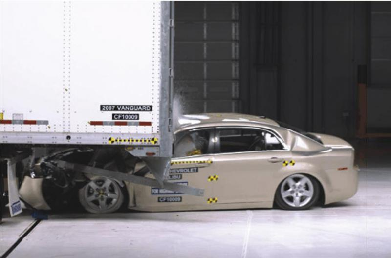 Depiction of crash test for trailer safety equipment in unrelated case.