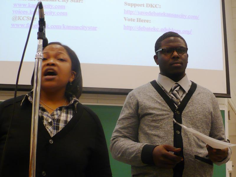 Debaters Latoya Williams-Green and Ryan Wash.