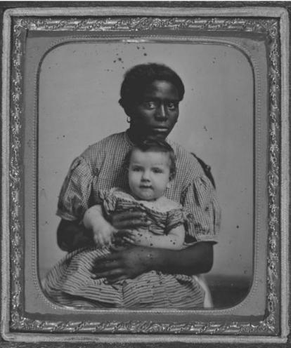Louisa and Harry E. Hayward. Circa 1858. Louisa was the slave nurse for Harry, who was seated in her lap. The image suggests the intimate and complicated relations that existed between slaveholding family members and their slaves.