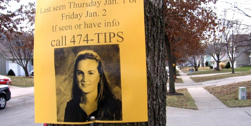 One of hundreds of posters with images of Renee Pernice, this near her Kansas City North home, a  month after she vanished in Jan. 2009. Her husband  goes on trial for murder later this month.