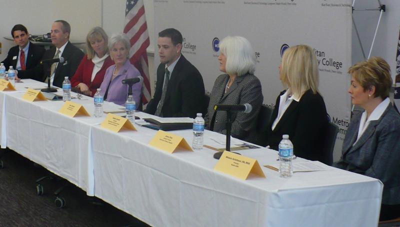HHS Secretary Kathleen Sebelius [4th from left] touted the benefits of health information technology during a panel at Metropolitan Community College's Health Science Institute.