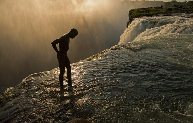Swimming hole at the top of Victoria Falls