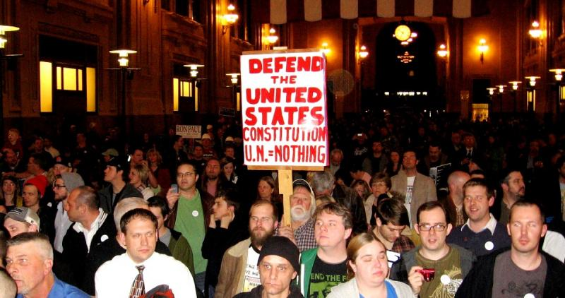 Ron Paul's audience virtually filled the Old Waiting Room at Kansas City's Union Station.