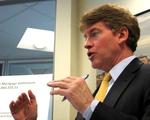 Missouri Attorney General Chris Koster outlines distribution of funds from landmark national mortgage settlement. He met with reporters in Kansas City today.