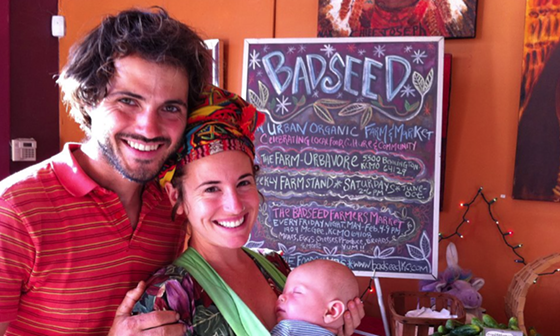 Dan Heryer, Brooke Salvaggio and son Percy of Badseed Farmers Market and Urbavore Farms