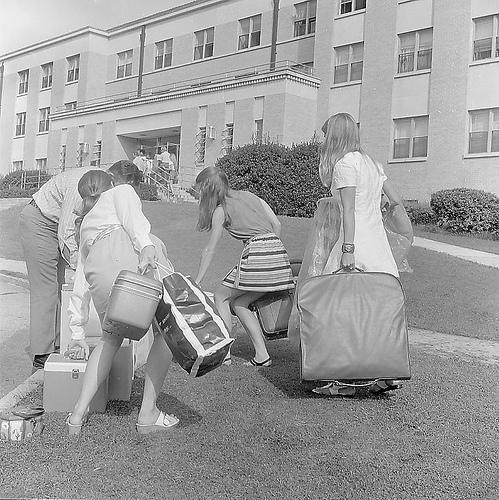 Students move into Duke University dorms in the 1960s. Was it any easier for their parents?