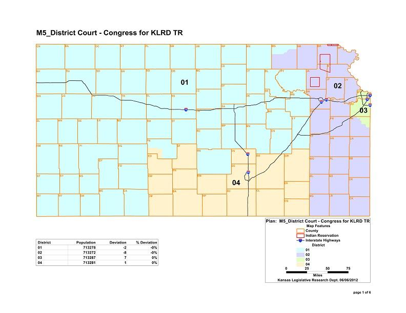 The new map for Kansas' Congressional districts.