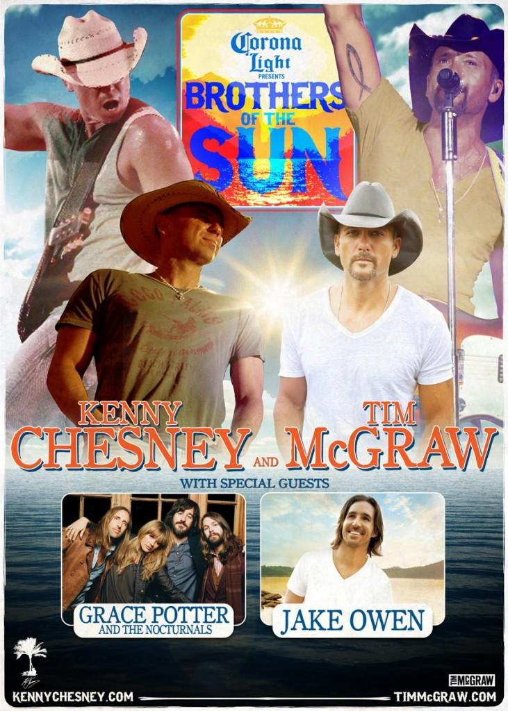Tim McGraw and Kenny Chesney perform Saturday at Arrowhead Stadium