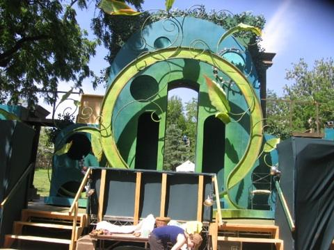 "The ""Midsummer Night's Dream"" set on the flip side of the set for ""Antony and Cleopatra"""