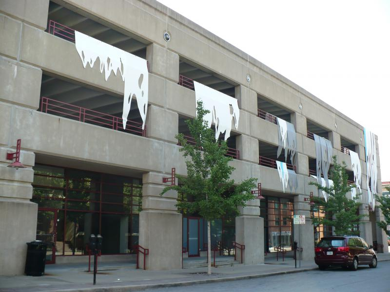"The installation at 10th and Central is called ""Ice Storm"" by artist Christa Dalien."