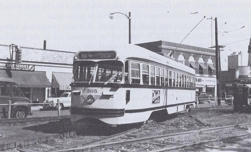 One of the last runs of the Country Club Streetcar line, as it pulls into the Waldo Station area from the south, circa 1955.