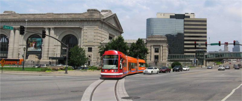 A projection of the proposed Kansas City streetcar