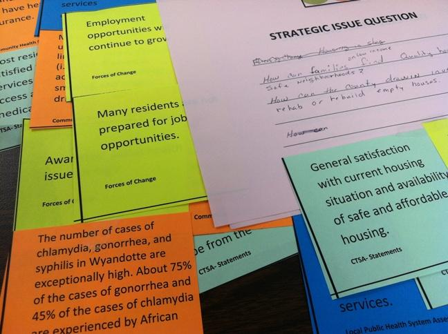 Note cards used during a group exercise at a community meeting last week about health issues in Wyandotte County.