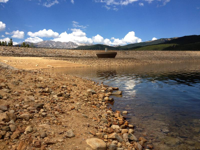 Turquoise Lake near Leadville, Colo., is about 20-feet below normal for this time of year. Still, officials are letting water out to help interests downstream.