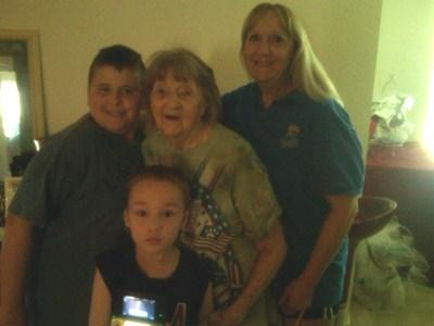 The Landes family; Logan,Mason, Grandma Billie, and Cheryl.