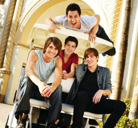 """Big Time Rush"" stars (from left) Carlos Pena, James Maslow, Logan Henderson, and Kendall Schmidt."