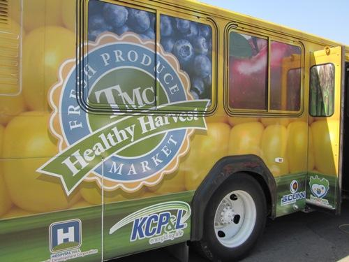 The mobile market is a donated, retrofitted city bus.