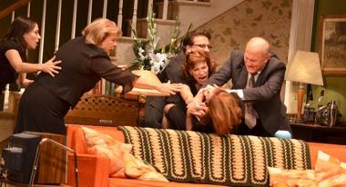 "Cheryl Weaver (center) in a family fracas in KC Rep's ""August: Osage County""."
