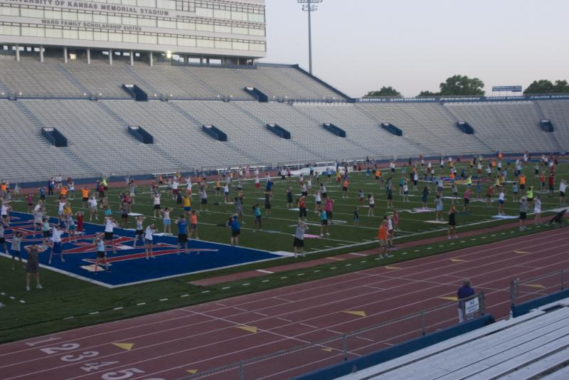 Morning workout inside KU's Memorial Stadium, summer 2011.
