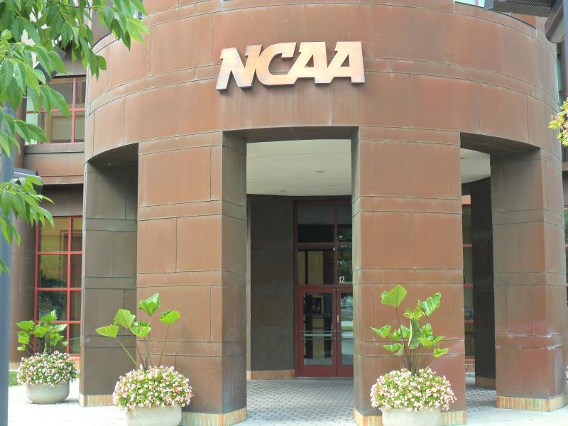 The NCAA headquarters in Indianapolis. In 1999, the NCAA relocated from Kansas City, Mo.