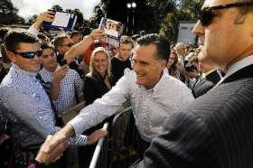 Republican candidate Mitt Romney shakes hands with supporters in Jacksonville, FL.
