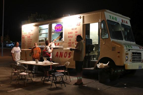 An all night Mexican food truck stays busy on Independence Ave. and Benton Blvd.