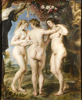 "Peter Paul Rubens' ""The Three Graces"" (1639) shows women of a more typical size than those just two centuries later."