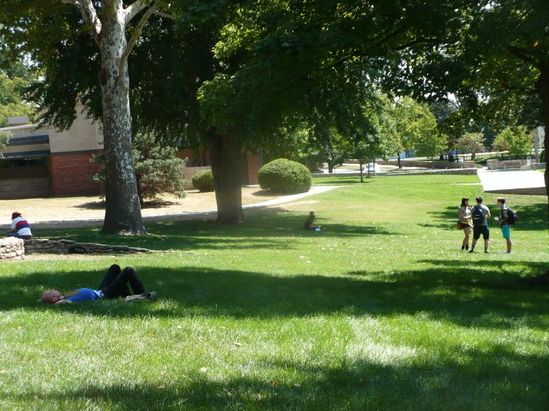 A student rests on the lawn at The Kansas City Art Institute.