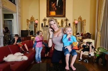"Jackie Siegel and her brood in ""The Queen of Versailles."""
