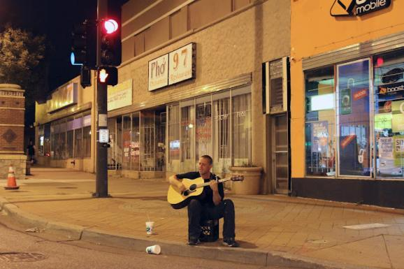 A self-described meth addict solicits donations on a deserted Independence Avenue at 2 a.m.