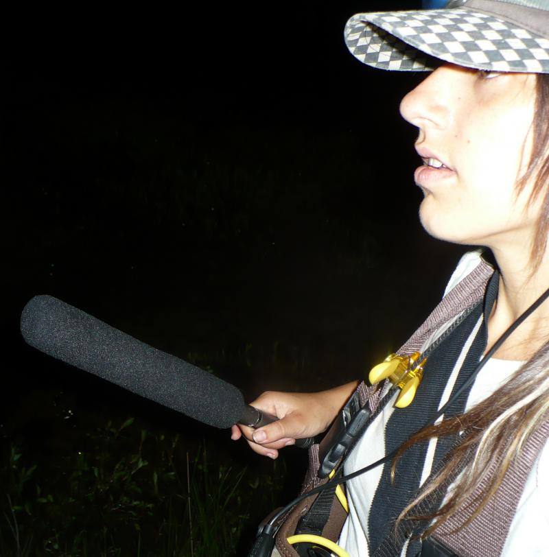 KCUR Producer Suzanne Hogan in the Amarugia Highlands Conservation Area on a late night frog hunt.