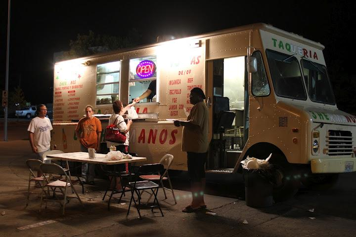 An all- night Mexican food truck  stays busy on Independence Avenue and Benton Boulevard.