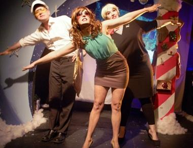 "David Wayne Reed, Heidi Van and Bess Wallerstein in ""White Nose Christmas"" at The Fishtank."