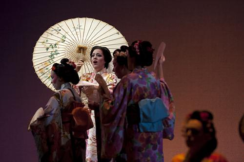 The geisha Cio-Cio-San, known as Butterfly, played by Elizabeth Caballero, reveals herself to Lt. B. F. Pinkerton on their wedding day in Nagasaki, Japan.