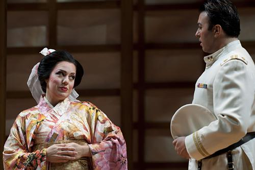 Cio-Cio-San, known as Butterfly, played by Elizabeth Caballero, flirts with Lt. B. F. Pinkerton, played by Dinyar Vania.