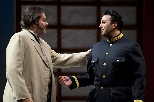Sharpless, U.S. consul, played by Weston Hurt, (from left) greets Lt. B. F. Pinkerton played by Dinyar Vania, on his return to Nagasaki.