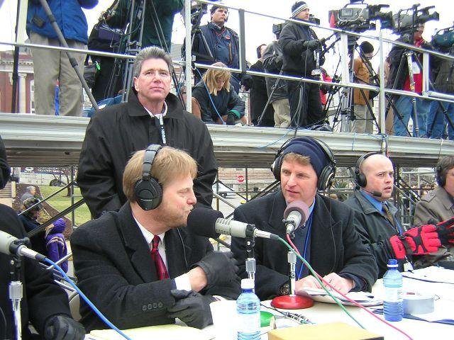 A very cold January day during a remote broadcast of Up to Date from Gov. Matt Blunt's inauguration. Pictured: Kit Wagar, Bill Anderson (who generously lent his hat to producer Stephen Steigman) and Steve Kraske