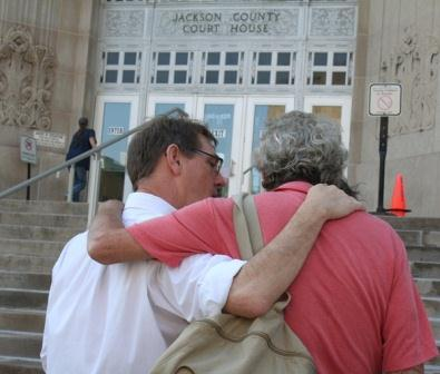 David Clohessy with SNAP, conferring with David Biersmith from Voice of the Faithful, outside the courthouse on Thursday.