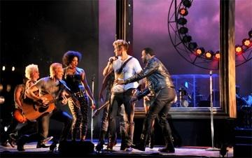 "Claybourne Elder (in white t-shirt) as ""Pippin"" at KC Rep."