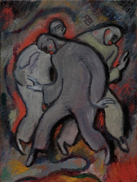 Albert Bloch, American. 1882-1961. Die drei Pierrots Nr. 2 (The Three Pierrots No. 2), 1911