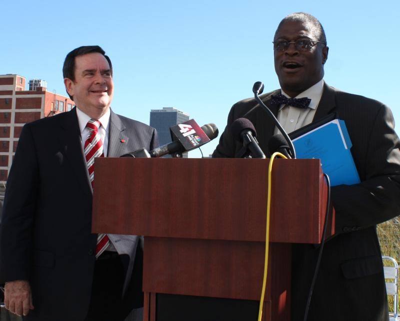 Mike Burke (left) and Mayor Sly James announce Launch KC.