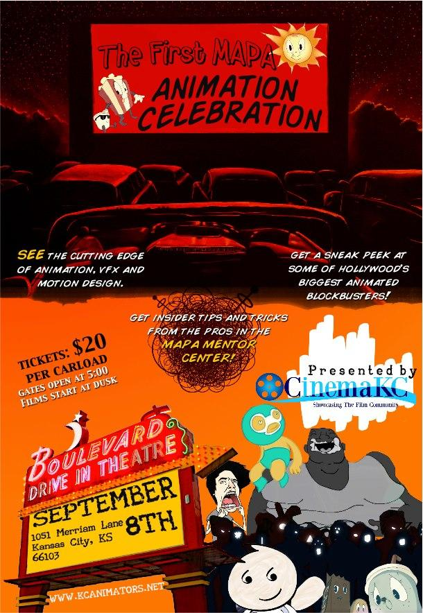 CinemaKC and Midwest Association of Professional Animators present the first local film festival highlighting the work of Midwest animators at the Boulevard Digital Drive-In Theater.