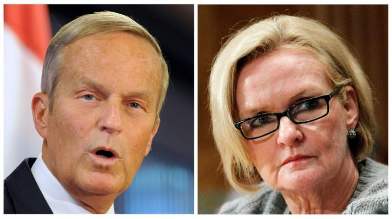 Republican Todd Akin, left, and Missouri Senator Claire McCaskill.