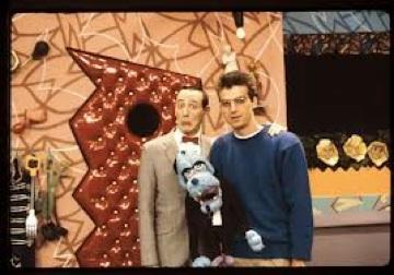 "Pee-Herman and artist Wayne White in the early days of ""Pee-Wee's Playhouse"""